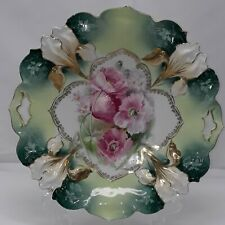 """RS Prussia Red Mark IRIS Mold Handled Cake Plate Pink Flowers 10"""""""