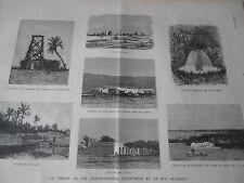 Gravure 1882 - Chemin de Fer transsaharien L'Oued-Rihr et Sud algérien
