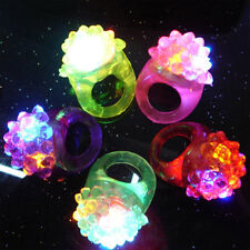 3 Light-Up Jelly Bumpy Rings Flashing LED Bubble Party Rave Favors Blinking Toys