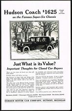 1922 Old Vintage Hudson Super Six Coach Motor Car Automobile Co Art Print Ad