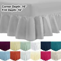 """Extra Deep 40 cm 16"""" 100% Egyptian Cotton Percale Frilled Fitted Valance Sheet"""