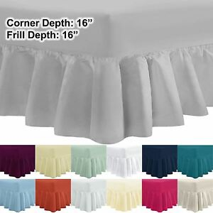 40 cm Extra Deep 100% Egyptian Cotton Percale Frilled Fitted Valance Bed Sheet