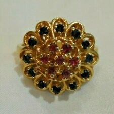 Vintage 14K Yellow Gold Sapphire & Ruby Cocktail Ring Size 6
