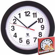 "BACKWARDS CLOCK 10"" quirky counter clockwise time reverse weird trick decoration"