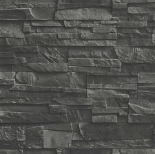 Vliestapete Factory 475036 Ziegel Stein Mauer Wand 3D grau schwarz (3,33€/m²)