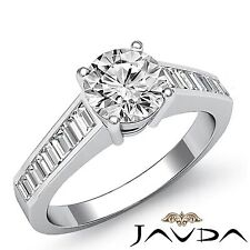 Round Diamond Baguette Channel Engagement Ring GIA F SI1 14k White Gold 2.35ct