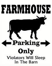 FARMHOUSE PARKING Primitive Country Farmhouse Vinyl Design Wall Decal Sticker