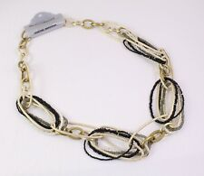 DS-1 Statement Kette Collier gold schwarz grau weiß Metall Perlen Lagenlook NEU