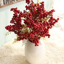1 Bouquet Artificial Fruit Christmas Berry Flower Bean Red Cherry Decor Wedding