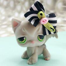 Lps Littlest Pet Shop Grey Cat Kitty # 20 Angora Green Dot Eyes Long Hair Toy