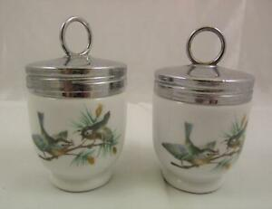 2 x Royal Worcester Porcelain Egg Cups Bird Design Made In England Collectable