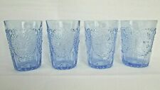 (set of 4) Anthropologie Fleur-De-Lys Juice Glasses Blue cameo, fronds, beaded