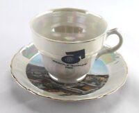 Vintage Opalescent Porcelain Souvenir Tea Cup & Saucer Seattle World's Fair 1962