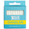 PLAIN 36 PIECES -  BIRTHDAY CANDLES - WHITE - 2 HIGH