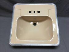 Vtg Ceramic Peachy Tan Porcelain Mid Century Drop In Bath Sink Old Crane 380-19E