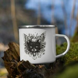 Wiccan Black Cat Camping Mug Witchy Mystical Tea Coffee Cup 12oz Halloween Gift
