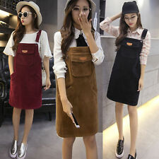 Lady Retro Casual College Corduroy Strap Dungaree Dress Overalls Skirts Pinafore