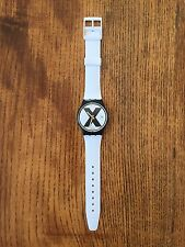 Swatch X-Rated Watch (White Band) 1987 Rare Swiss Made Straight Edge X