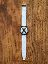 Swatch X-Rated Watch (White Band) 1987 Rare Swiss Made Straight Edge X
