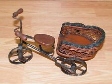 """Vintage 12"""" Wrought Iron & Wood Bicycle / Tricycle Stand Holder or Display Decor"""
