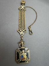 Knights of Pythias Vintage Watch Fob Triple Chain Clip Fraternal Bates & Bacon