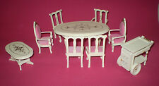 LOT OF FRENCH PROVINCIAL DOLLS HOUSE FURNITURE INC DINING SUITE & COFFEE TABLE
