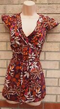 PAPAYA CORAL BURGUNDY FLORAL SEQUIN WHITE BELTED SUMMER TUNIC BLOUSE TOP 12 M