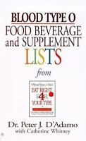 Blood Type O Food, Beverage And Supplemental Lists: By Peter J. D'Adamo