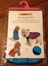 "New listing Fashion Pet Dog Jacket Xs Winter Snow Board Ski Xs 8"" Turquoise Blue Nylon Coat"