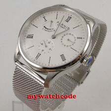 42mm Parnis white dial date power reserve seagull automatic mens watch PA946AU