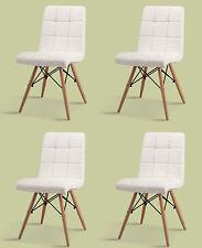 4 er Set Stuhl Esszimmer PU Leder weiss Designerstuhl Chair für Esstisch Stühle