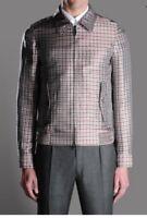 NWT Authentic Brioni Silk Leather Details Checked Blouson Jacket Coat M $3925