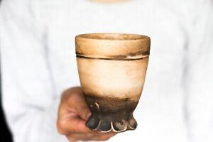 Primitive mug No handle cup Pottery mug Ceramic mug Earthy mug Coffee mug Mate m