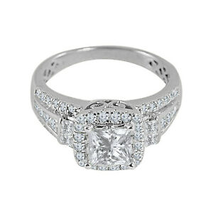 3.24ct Princess Cut Diamond Engagement Ring 14K White Gold Over Jewelry Gift