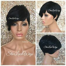 Short Straight Layered Pixie Full Wig With Bangs #1b Off Black Heat Safe Ok