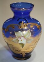 Bohemian Czech Venetian Gold & Cobalt Blue Raised Flower Art Glass Vase 5""