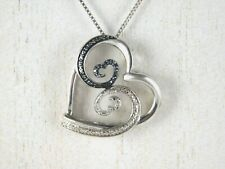 Jane Seymour Open Hearts 925 Silver Blue & White Diamond Wave Heart Pendant