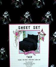 GOTHIC GIRL SKULL TATTOO  BLACK 3PC TWIN SHEETS  BEDDING SET NEW