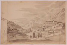 """Jacob Gauermann (1773-1843) """"In Tyrolean Village"""", Drawing, Early 19th Century"""