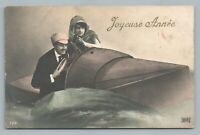 Submarine Couple—French Studio Photo RPPC New Years—Antique Boat Fantasy 1910s
