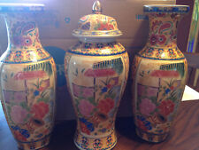 Beautiful Vintage Chinese Porcelain Landscape Vases and Matching URN 3PC