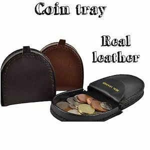 Leather Coin Tray Big Size Purse Pouch For Coins Notes Black Brown Coffee