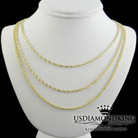 Real 100% 14K Yellow Gold 2mm Hollow Rope Chain Link Necklace Chain Men's Ladies