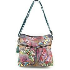 "Anuschka Leather Hand Painted ""Butterfly Paradise"" Cross Body Handbag Wallet NWT"