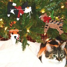 3 Cat Ornaments Handmade Christmas Tree Decorations Hand Knit Chilly Dog NWT