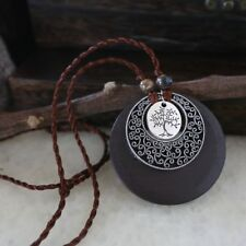 2019 Hot Long Leather Chain Ceramic Bead Wooden Circle Pendant Necklace for Girl