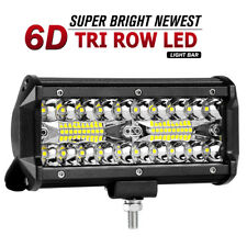7Inch Tri-Row LED Light Bar Spot Flood Combo Driving Off Road Boat Jeep ATV SUV