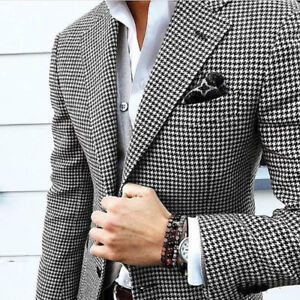 Men Houndstooth Dogstooth Blazer Suit Checkered Dinner Tuxedos Party Suit Custom