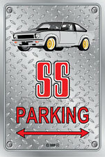 Parking Sign Metal Torana A9X SS White with Simmons - Checkerplate Look