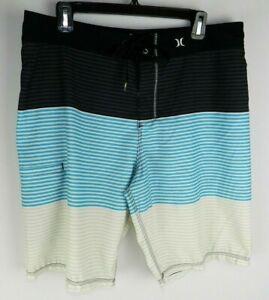 Hurley Trunks Men's Size 34 Swim Board Surfing Shorts Black Blue White Stripe